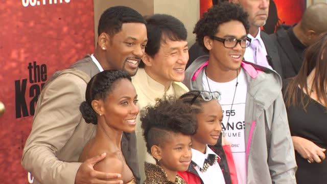 jada pinkett smith, jackie chan, willow smith, jaden smith, trey smith at the 'the karate kid' premiere at westwood ca. - jackie chan stock videos & royalty-free footage