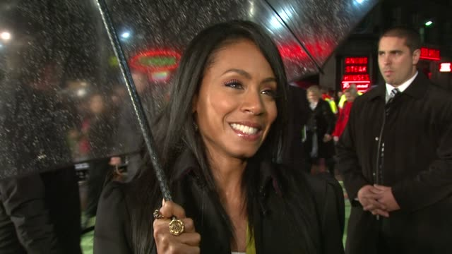 jada pinkett smith on her son being the new karate kid. at the uk premiere of madagascar 2 escape 2 africa at london . - jada pinkett smith stock videos & royalty-free footage