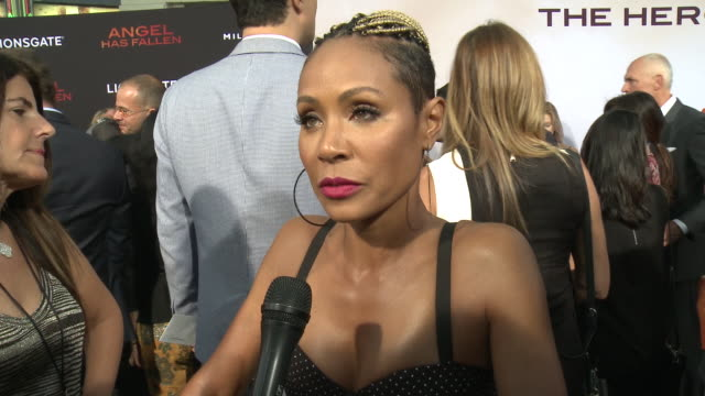 """jada pinkett smith on the film and hype around the summer blockbuster at the """"angel has fallen"""" world premiere on august 20, 2019 in los angeles,... - jada pinkett smith stock videos & royalty-free footage"""