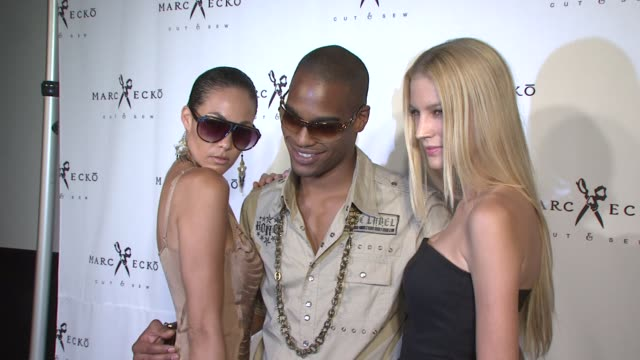 jade cole, ibrahim, and shannon rusbuldt at the marc ecko cut & sew fall campaign launch with digital muse lindsay lohan at new york ny. - marc ecko stock videos & royalty-free footage