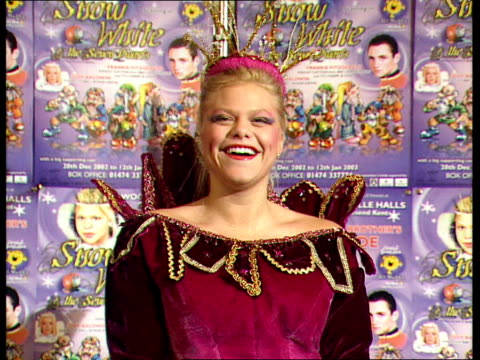 vídeos de stock, filmes e b-roll de jade goody appears in pantomime gravesend woodville halls theatre jade goody photocall in snow whte pantomime costume - big brother