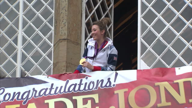 jade jones has been welcomed home in style by the people of flint in wales. the taekwondo champion who was team gb's youngest gold medal winner... - taekwondo stock videos & royalty-free footage