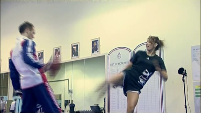 jade jones wins taekwondo / family celebrate in wales; file: date unknown: jade jones training in gym - taekwondo stock videos & royalty-free footage