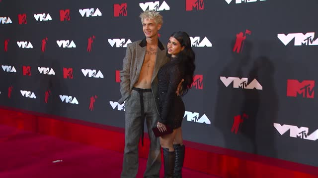 jaden hossler, nessaarrives at the 2021 mtv video music awards at barclays center on september 12, 2021 in the brooklyn borough of new york city. - mtv video music awards stock videos & royalty-free footage
