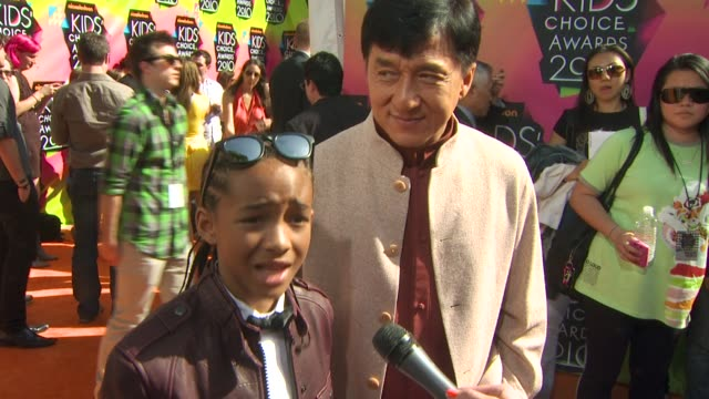 jaden smith and jackie chan on the event on getting slimed and on their film together at the nickelodeon's 23rd annual kids' choice awards arrivals... - jaden smith stock videos & royalty-free footage