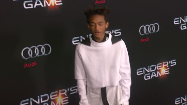 jaden smith at ender's game los angeles premiere in hollywood ca on - jaden smith stock videos & royalty-free footage