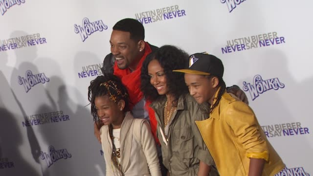 jaden smith will smith jada pinkett smith and jaden smith at the 'justin bieber never say never' premiere at los angeles ca - jaden smith stock videos & royalty-free footage