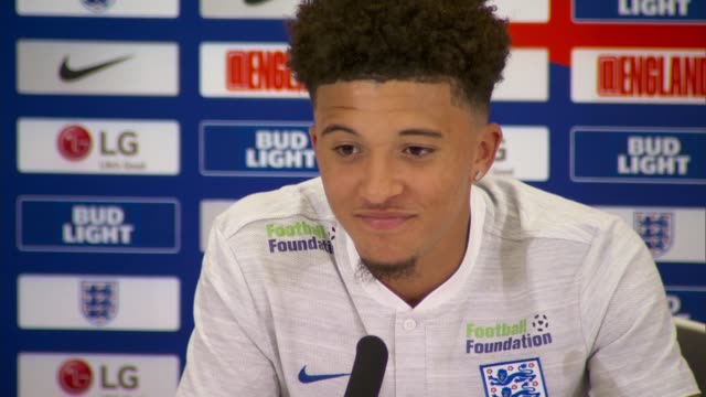 staffordshire burton upon trent st george's park national football centre int jadon sancho press conference continued sot - borussia dortmund stock videos and b-roll footage