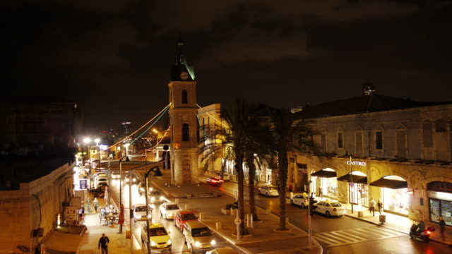 jaffa clock tower at night - time lapse - jaffa stock videos & royalty-free footage