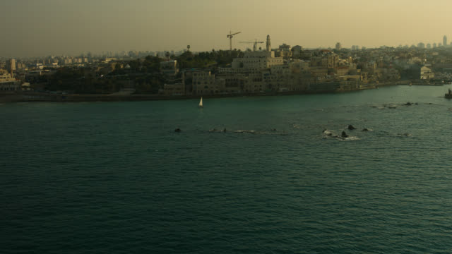 stockvideo's en b-roll-footage met jaffa coast and old city aerial shot - jaffa