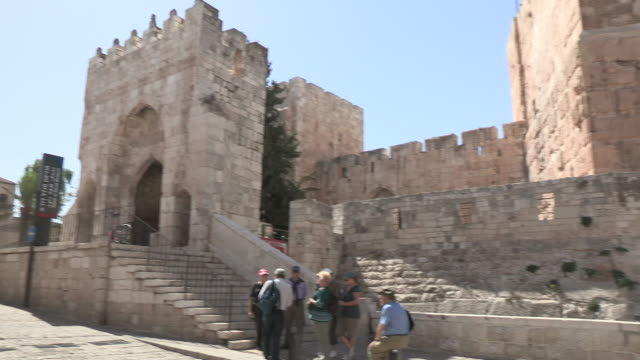 jaffa gate, jerusalem, israel - cancello video stock e b–roll