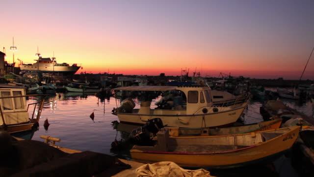 jaffa port at sunset - jaffa stock-videos und b-roll-filmmaterial