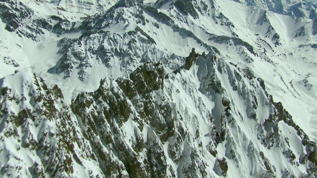 Jagged Mountain Peaks Covered With Snow