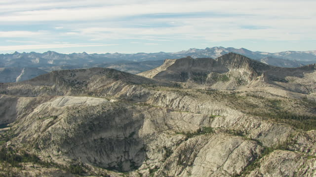 WS AERIAL POV Jagged Mountain Peaks of Sierra Nevada in Yosemite National Park / California, United States