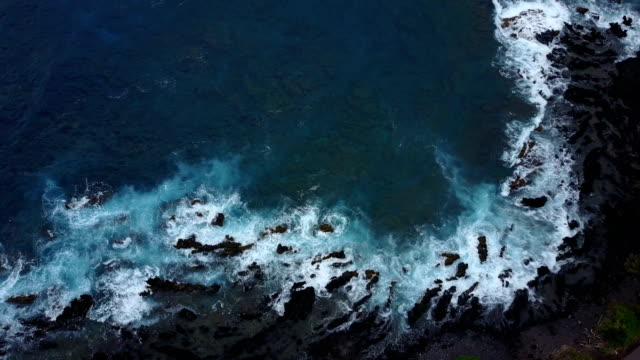 Jagged Outcropping Below Drone on Pacific Island