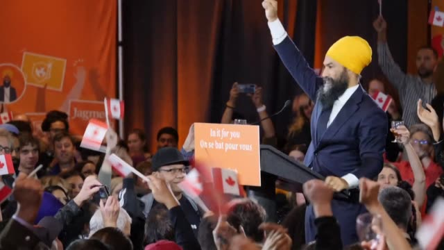jagmeet singh leader of the new democratic party thanks his supporters and promises to serve the people as the leftist former criminal defense lawyer... - election stock videos & royalty-free footage