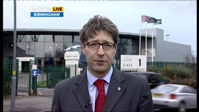 Jaguar car manufacturer requests government bailout Professor David Bailey interview SOT