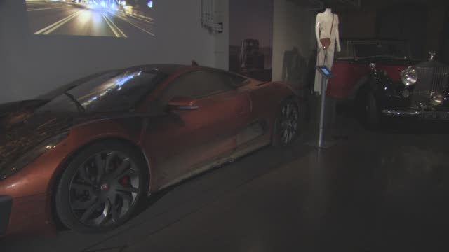 jaguar c-x75 at the cars of 'spectre' exhibition at the london film museum on november 17, 2015 in london, england. - the cars stock videos & royalty-free footage