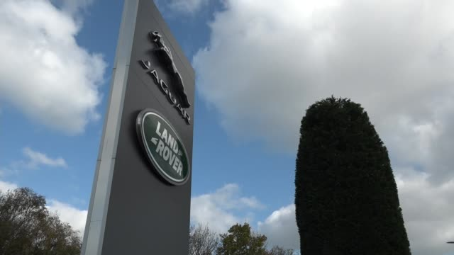 jaguar land rover records first halfyear loss in a decade uk solihull jaguar land rover signs / professor david bailey interview solihull ext land... - 角度点の映像素材/bロール