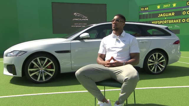 Jaguar PR event sponsors of Wimbledon Tennis Anthony Joshua and Andy Murray interviews ENGLAND London Wimbledon EXT Anthony Joshua interview re the...