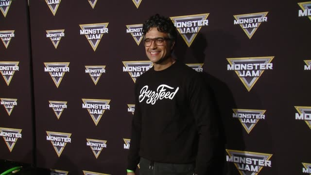 vídeos y material grabado en eventos de stock de jaime camil at monster jam celebrity event at angel stadium on february 24 2018 in anaheim california - angel stadium