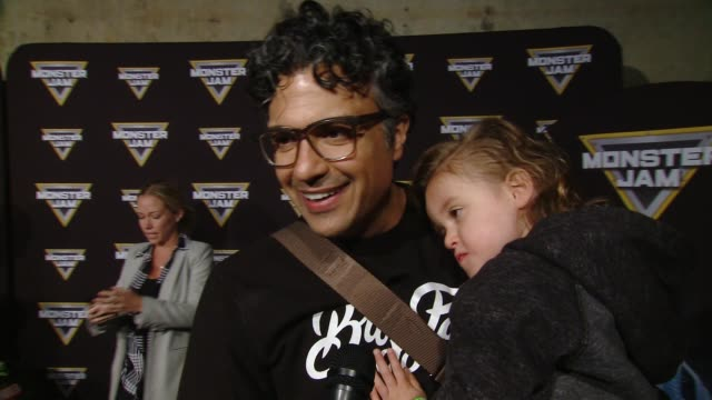 vídeos y material grabado en eventos de stock de interview jaime camil at monster jam celebrity event at angel stadium on february 24 2018 in anaheim california - angel stadium