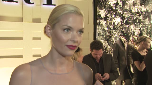 vídeos y material grabado en eventos de stock de jaime king on her outfit on attending tonight's event on the appeal of burberry on the new edgier look of burberry and on her favorite burberry piece... - ceremonia de reapertura