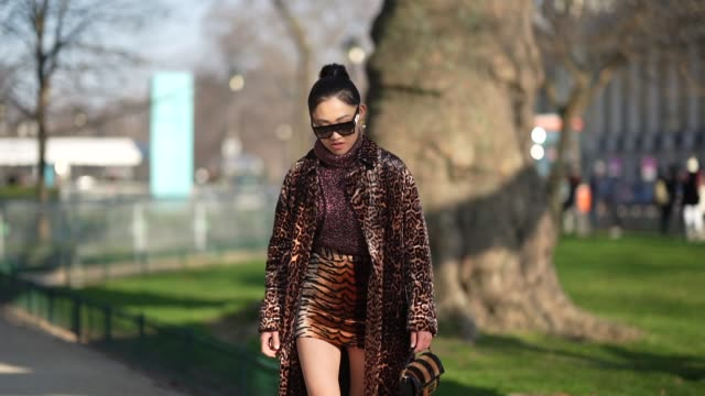 stockvideo's en b-roll-footage met jaime xie wears sunglasses a turtleneck wool glitter purple pullover a leopard print long coat a tiger print brown mini skirt a fendi bag brown... - coltrui