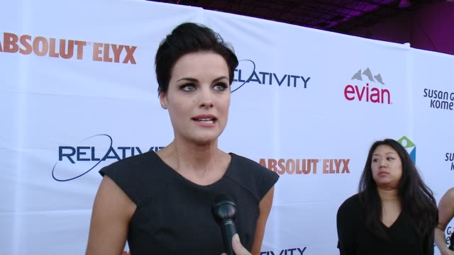 vídeos y material grabado en eventos de stock de jaimie alexander on supporting the cause and on how cancer has impacted her life at pathway to the cure for breast cancer a fundraiser benefiting... - the cure