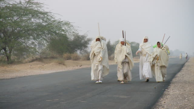 ws jain nuns walking on pilgrimage / jaislamer, rajasthan, india - gemeinsam gehen stock-videos und b-roll-filmmaterial