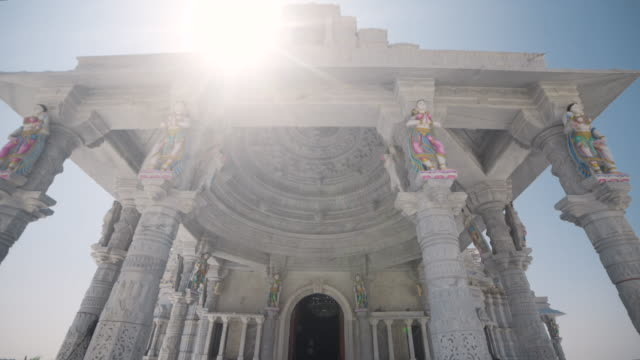 Jain white temple at Chennai India dolly shot