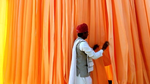 Jaipur India Asia Sari factory male textiles worker