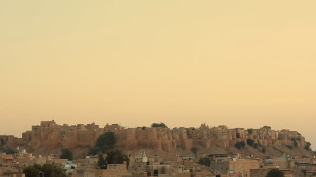 jaisalmer fort at sunset timelapse, rajasthan, india - wide shot stock videos & royalty-free footage