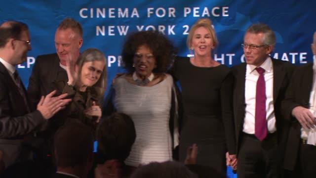 jaka bizilj, amy goodman, sting, jessye norman, trudie styler, allan buchman and noella coursaris musunka atcinema for peace new york 2012 gala... - trudie styler stock-videos und b-roll-filmmaterial
