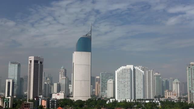 MS  Jakarta cityscape Wisma 46 BNI building and business district cityscape