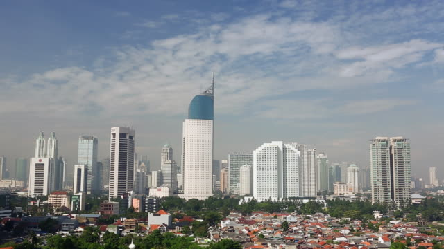 ws  jakarta cityscape wisma 46 bni building and business district cityscape - jakarta stock videos & royalty-free footage