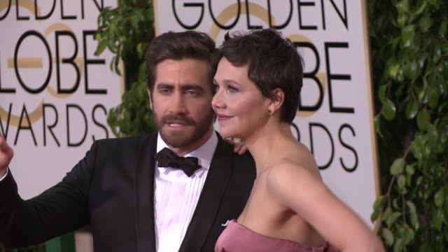 jake gyllenhaal and maggie gyllenhaal at the 72nd annual golden globe awards arrivals at the beverly hilton hotel on january 11 2015 in beverly hills... - jake gyllenhaal stock videos & royalty-free footage