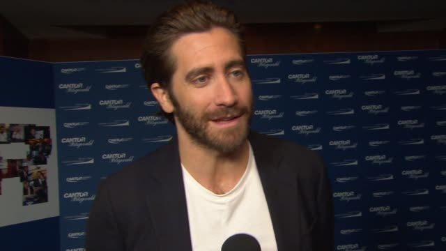 interview jake gyllenhaal at annual charity day 2017 hosted by cantor fitzgerald bgc and gfi on september 11 2017 in new york city - jake gyllenhaal stock videos & royalty-free footage