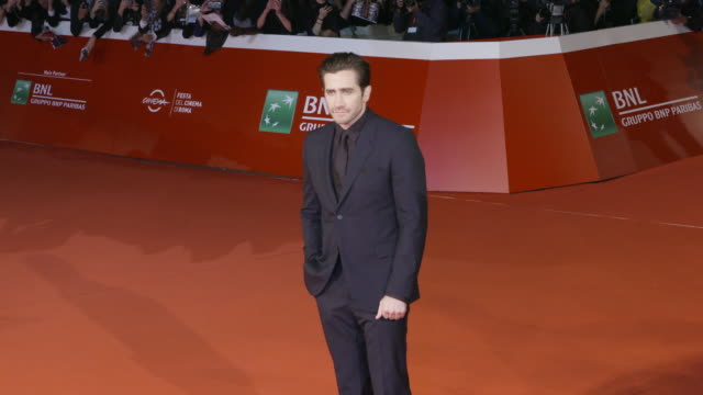 jake gyllenhaal at stronger red carpet 12th rome film fest on october 28 2017 in rome italy - rome film fest stock videos and b-roll footage