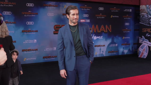 jake gyllenhaal at the world premiere of spiderman far from home on june 26 2019 in hollywood california - red carpet event stock videos & royalty-free footage