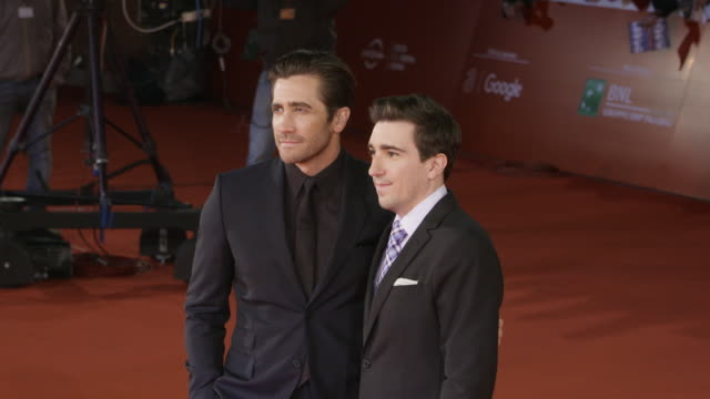 jake gyllenhaal jeff bauman antonio monda at stronger red carpet 12th rome film fest on october 28 2017 in rome italy - rome film fest stock videos and b-roll footage