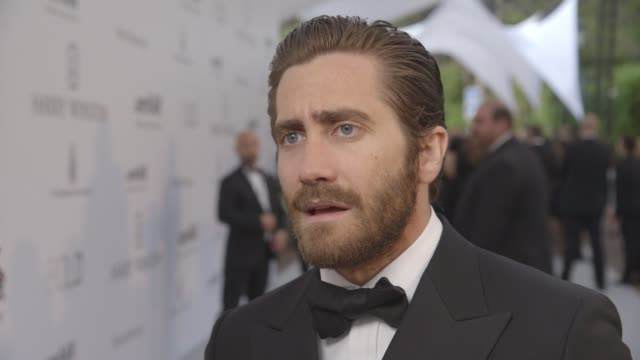 interview jake gyllenhaal on cannes film festival supporting the event glamour helping raise money at amfar 22nd cinema against aids gala presented... - jake gyllenhaal stock videos & royalty-free footage