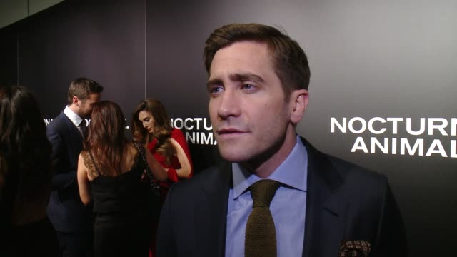 "interview jake gyllenhaal on his initial reaction to the script his favorite part of working with tom ford at ""nocturnal animals"" los angeles special... - working animals stock videos & royalty-free footage"