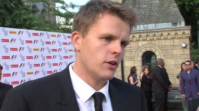 jake humphrey on hostingt eh event on supporting great ormand street hospital on raising some money for the heart and lung unit on f1 on bernie... - bernie ecclestone stock videos & royalty-free footage