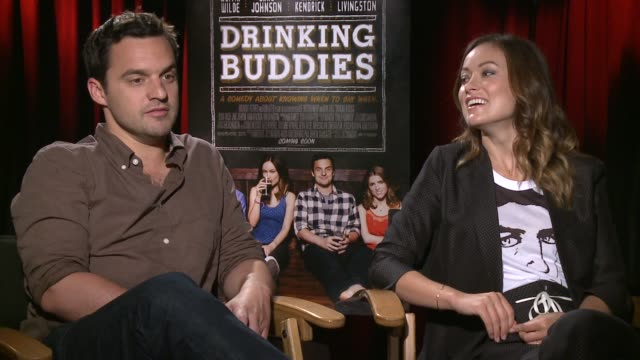 Jake Johnson Olivia Wilde on drinking in the movie Jake Johnson Olivia Wilde on drinking in the mov at The Four Seasons Hotel on August 15 2013 in...