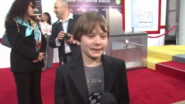 jake siciliano on his character the challenges of his role at the 'the taking of pelham 1 2 3' premiere at westwood los angeles ca - pelham 1 2 3: ostaggi in metropolitana video stock e b–roll
