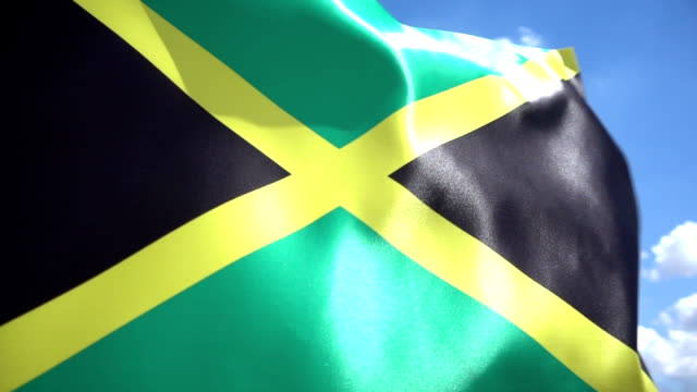 jamaican flag high detail - jamaica stock videos and b-roll footage