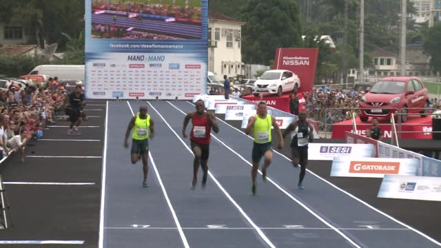 jamaican sprint legend usain bolt clocked 1012 seconds to win an exhibition 100m race in rio de janeiro on sunday - running race stock videos and b-roll footage