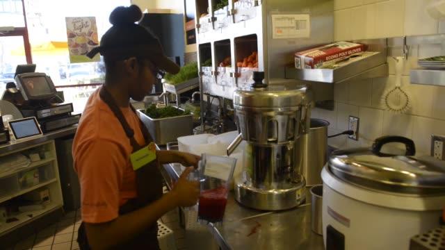 jamba juice, interior, preparation, juice making, blenders jamba juice broll on january 21, 2013 in emeryville, ca - emeryville stock videos & royalty-free footage