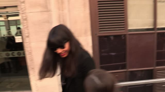 jameela jamil arrives at bbc radio one to record her chat show. sighted: jameela jamil at bbc studios, central london on april 05, 2012 in london,... - bbc radio stock videos & royalty-free footage